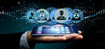 Equipe guardar uma rendição profissional do conceito 3d da rede do contato Fotos de Stock