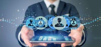 Equipe guardar uma rendição profissional do conceito 3d da rede do contato Imagem de Stock Royalty Free