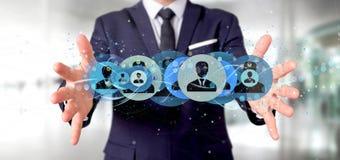 Equipe guardar uma rendição profissional do conceito 3d da rede do contato Imagens de Stock Royalty Free