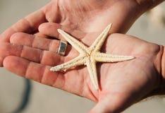 Guardarando uma estrela do mar Imagem de Stock Royalty Free