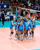 Equipe italiana do voleibol: vitória Imagem de Stock Royalty Free