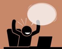 Equipe levantar suas mãos ao olhar o tela de computador ilustração royalty free