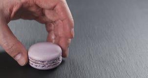Equipe a mão que empilha macarons da alfazema na placa da ardósia Fotos de Stock Royalty Free