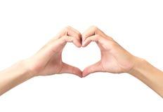 Equipe a mão que faz a forma do coração isolada no fundo branco Imagens de Stock