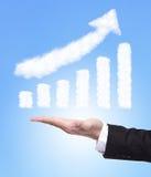 Equipe a mão que guardara o gráfico do crescimento Imagem de Stock Royalty Free