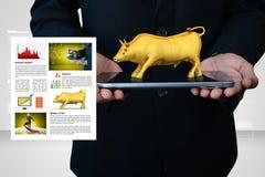 Equipe mostrar o touro do mercado de valores de ação no tablet pc Imagem de Stock