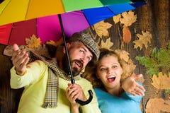 Equipe a mulher farpada e loura colocada na opinião superior do fundo de madeira Obstáculo chuvoso do tempo não para eles Datar d imagem de stock royalty free