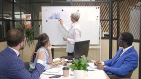 Equipe multirracial que conceitua dados financeiros na instrução no escritório moderno filme