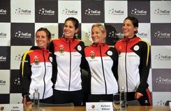 Equipe nacional do tênis das mulheres de Alemanha durante uma conferência de imprensa fotos de stock royalty free