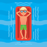 Equipe a natação no mar na opinião superior vermelha de colchão de ar Ilustração do vetor Fotografia de Stock Royalty Free
