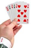 Equipe o ás da terra arrendada em uma luva ao jogar o póquer Fotos de Stock Royalty Free