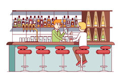 Equipe o assento no contador da barra, bebendo o álcool ilustração royalty free