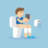Equipe o assento no toalete com uma ilustração eletrônica do vetor da tabuleta Imagens de Stock