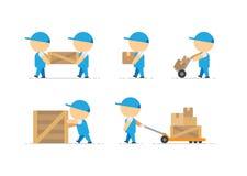 Equipe o carregador com a caixa de madeira nas mãos e no recipiente na arte do vetor do trole do frete Imagens de Stock