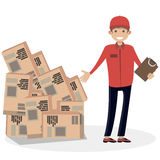 Equipe o correio do serviço de entrega do transporte aos bens Povos lisos da ilustração do vetor do caráter Imagens de Stock
