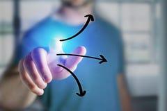 Equipe o dedo que toca em um ícone tirado mão das setas em um int futurista Imagem de Stock