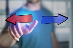 Equipe o dedo que toca em um ícone tirado mão das setas em um int futurista Fotografia de Stock Royalty Free