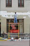 Equipe o emplastro da fachada da construção em Moscou Foto de Stock
