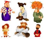 Equipe o estilo popular rural dos desenhos animados do clipart da menina idosa da mulher  Imagens de Stock