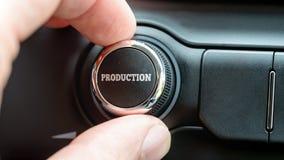 Equipe o giro de um seletor ou de um botão de controle eletrônico com a pancada da palavra Fotos de Stock Royalty Free