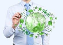 Equipe o inquietação com o ambiente limpo, energia do eco, proteção Imagem de Stock
