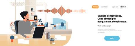 Equipe o interior inteligente do escritório do conceito da tecnologia das ondas sadias do reconhecimento do assistente pessoal da ilustração stock
