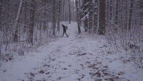 Equipe o inverno de passeio Forest Traveler With Backpack da neve na noite ou na manhã, no crepúsculo filme