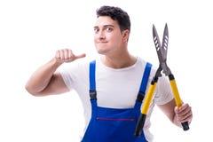 Equipe o jardineiro com as tesouras de jardinagem no isolado branco do fundo Foto de Stock Royalty Free