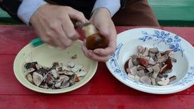 Equipe o prato limpo da faca do cogumelo do boleto do cepa-de-bordéus do outono da mão vídeos de arquivo
