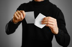 Equipe o rasgo de um pedaço de papel no folheto branco parcialmente vazio do inseto Fotografia de Stock