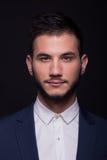 Equipe o retrato da cabeça da cara do headshot, camisa branca, terno do revestimento Fotografia de Stock Royalty Free