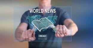 Equipe o toque de um conceito das notícias do mundo em um tela táctil Foto de Stock Royalty Free
