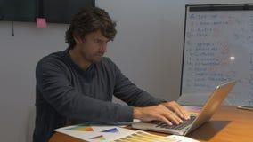 Equipe o trabalho tarde, sentando emoções do negativo dos papéis de laptop da mesa de escritório filme
