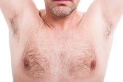 Equipe os underarms peludos ou as axila isolados no branco imagens de stock royalty free