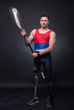 Equipe a pá do caiaque da canoa, desportista do atleta, pé protético, disab Imagem de Stock Royalty Free