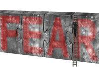 Equipe a palavra vermelha de escalada do medo do muro de cimento dos enigmas da escada Imagem de Stock