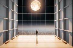 Equipe a posição e a vista fora da janela no grande salão ilustração royalty free