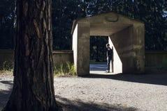 Equipe a posição na luz solar da inundação em um cofre-forte de pedra imagem de stock