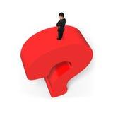 Equipe a posição no fundo vermelho enorme do branco do ponto de interrogação 3D Imagem de Stock Royalty Free