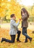 Equipe a proposição a uma mulher no parque do outono Fotografia de Stock Royalty Free