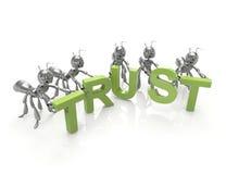 Equipe que forma a palavra da confiança Imagens de Stock