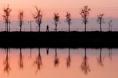 Equipe a reflexão que passa perto de um lago no crepúsculo Fotos de Stock