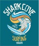 Equipe surfando da angra do tubarão Imagem de Stock