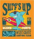 Equipe surfando da costa oeste do tubarão Imagens de Stock