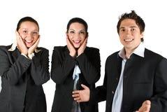 Equipe surpreendida feliz dos povos Fotografia de Stock