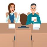 Equipe ter uma entrevista de trabalho com especialistas da hora e um chefe Imagens de Stock Royalty Free