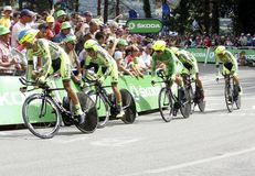Equipe Tinkoff - Saxo Bank Tour de France 2015 Stock Photo
