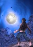Equipe transformar na ilustração da Lua cheia do homem-lobo ilustração stock