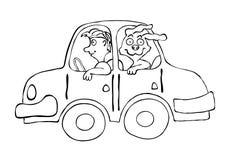 Equipe um cão no carro dos desenhos animados, ilustração do vetor Fotografia de Stock Royalty Free