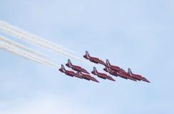 Equipe vermelha britânica do indicador das setas de Royal Air Force Fotografia de Stock